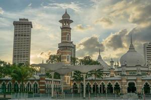 Sunset Shot of Masjid Jamek Mosque from the Train Station in Kuala Lumpur
