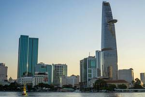 Sunset Viewpoint of Bitexco Financial Tower and District 1 in Ho Chi Minh City  Flip 2019