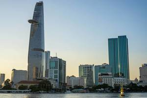 Sunset Viewpoint of Bitexco Financial Tower and District 1 in Ho Chi Minh City