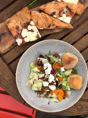 Super zucca salad and garlic bread with mozzarella with smokey chilli-infused dough