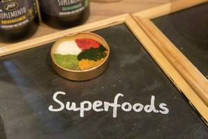 "Superfoods with organic powder by Pura - Petfood for dogs, seen at the pet fair ""Hundemesse 2019"" in Cologne, Germany"