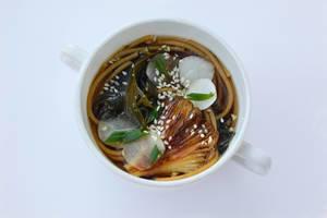 Suppe mit Seetang und Pilzen auf weißem Hintegrund