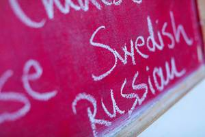 Swedish, among many foreign languages written with chalk, school chalkboard
