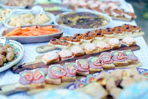 Swedish buffet, homemade small bites for breakfast