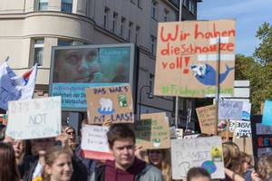 Swedish climate activist Greta Thunberg on canvas, during the Fridays for Future demonstration for climate strike in Cologne, Germany