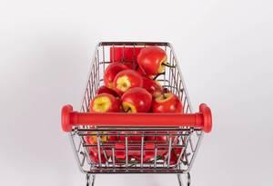Sweet apples in shopping cart  Flip 2019