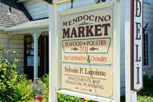 Tafel des Marktes in Mendocino