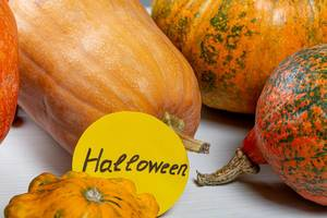 Tag Halloween on a background of ripe orange pumpkins