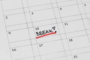 """Tag im Kalender versehen mit der Aufschrift """"Break!"""""""
