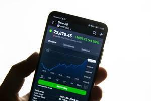 Tagesverlauf des Dow 30 auf dem Display eines Smartphones vor weißem Hintergrund