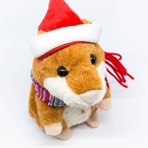 Talking hamster doll with Santa hat