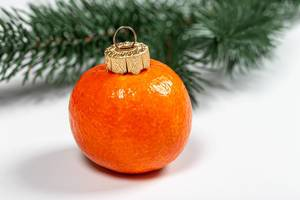 Tangerine fruit on white background with christmas tree branches (Flip 2019)