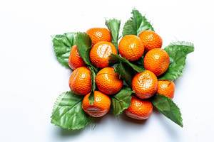 Tangerines with leaves fridge magnets on a white background