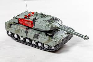 Tank model toys made of plastic on white background (Flip 2019)