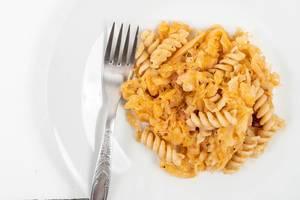 Tasty Pasta with Sauerkraut on the plate