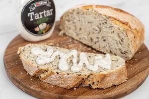 Tasty rustic bread with Tartar sauce