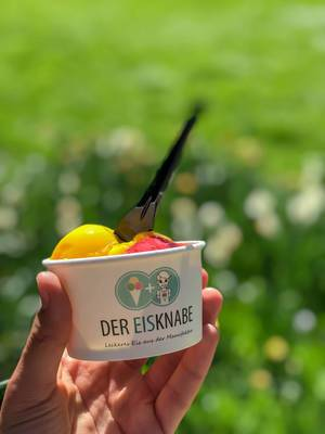 Tasty vegan mango-raspberry ice cream by Der Eisknabe