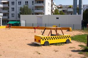 Taxi bench at a playground