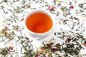 Tea cup with tea leaves on white. Tea time