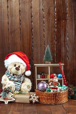 Teddybear with Santa Hat and Christmastree decoration