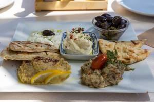 Teller mit Pita-Brot und verschiednen Dips, wie Tzatziki, frischem Rogendip, Auberginensalat, Hummus und Oliven