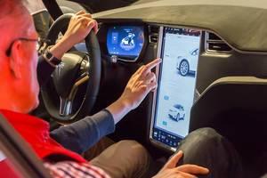 Tesla Model X Cockpit with large vertical display