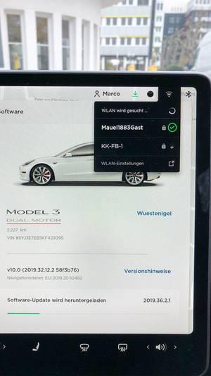 Tesla Software Update über das lokale W-lan Netzwerk