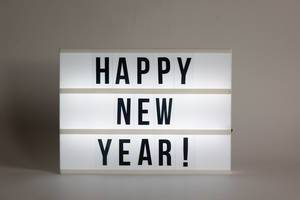 Text happy new year in a lightbox