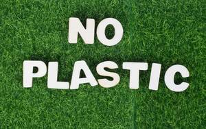 Text No plastic on green grass background