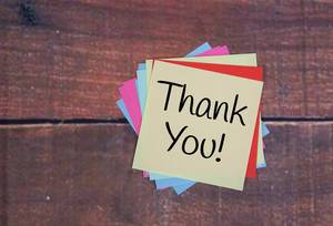 Thank You! message on yellow sticky note