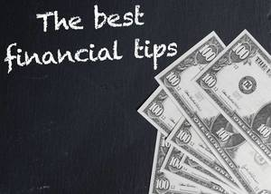 The best financial tips text with US dollar banknotes
