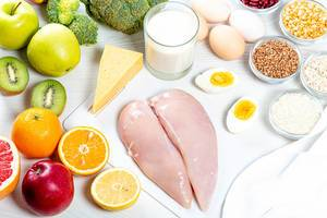 The concept of a balanced diet. Meat, fruit, vegetables, cereals and dairy products