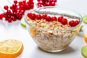 The concept of a healthy Breakfast - oatmeal with fruit and Chia seeds (Flip 2019)