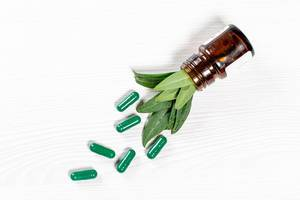 The concept of herbal medicines. Green capsules and leaves, top view