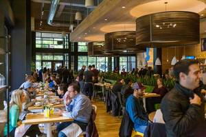 """The crowded interior of the True Food Kitchen restaurant in Chicago, inspired by the philosophy that """"Better food makes better living"""" and based on the principles of the anti-inflammatory diet"""