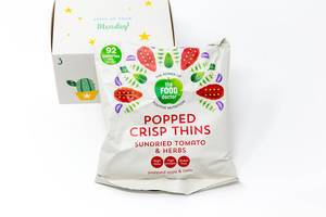 The Food Doctor - popped crisp thins made from soy and mais flour with dried tomatoes and herbs from the third door of the vegan Foodist Active Advents Calendar
