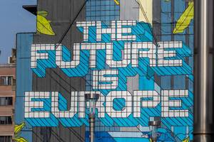 The Future is Europe street art on a 30 metres high house wall on Rue de la Loi, Brussels