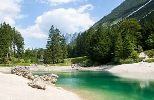 The lake of Predil in the Julian Alps near Tarvisio in Italy