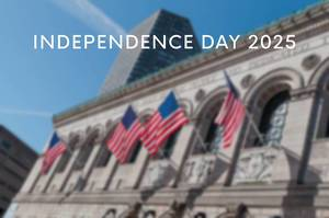 "The largest US library ""Boston Public Library"" with American flag and the text Independence Day 2025"