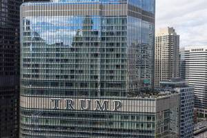 "The middle storeys of the Trump Tower with its large ""Trump"" sign seen from LondonHouse Chicago"