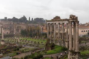 The ruins of antique Rome with rainy weather
