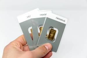 Three goldbars from Heraeus with 99.99% purity