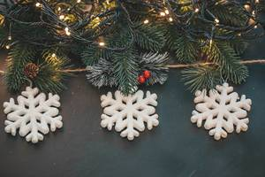 Three white snowflakes with Christmas tree branches and luminous garlands on a dark background