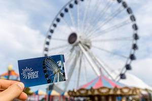 Ticket for a ride with the big ferris wheel at the sea bridge Navy Pier in Chicago