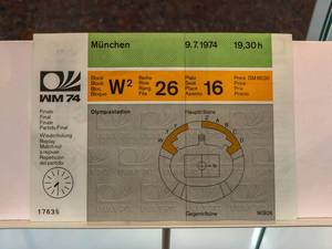 Ticket for the final game of World Cup 1974 in Munich, Germany