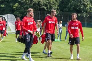 Timo Horn, Lasse Sobiech und Rafael Czichos beim Training am 25.06.2018