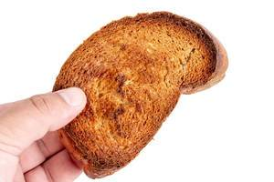Toasted Bread in the hand above white background