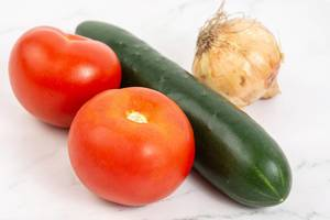 Tomato Cucumber and Onions for salad
