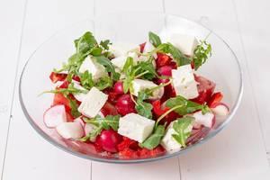 Tomato Radishes Rukola and Cheese salad (Flip 2019)