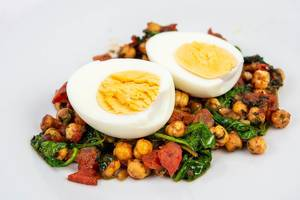 Tomato with Chickpeas and Baby Spinach served with boiled eggs (Flip 2019)